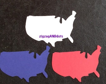 60 Map of the United States Die Cuts, Confetti, Classroom Decorations, Travel Confetti, USA Map Diecut, Scrapbooking, Various Colors