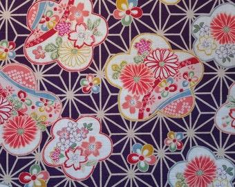 Last Piece.Chrysanthemums. Cherry blossoms. Floral.Asanoha. Hemp Leaf. Japanese fabric.Japanese cotton fabric.Fabric by half yard/half meter