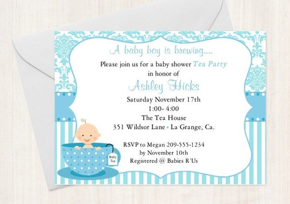 Baby Shower Tea Party Invitation / Baby Sprinkle / Blue / SET