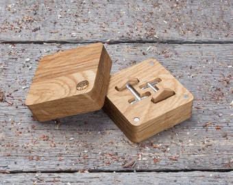 Wooden Cufflinks, Hexagon oak cufflinks, wood Cufflinks in gift box  free shipping gift cufflinks for boyfriend, groomsmen set of 2-4-6-8-10