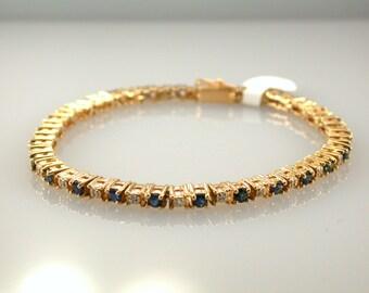 ON SALE! Blue Sapphire 14K Gold Bracelet, Natural Gemstone, Tennis Bracelet, September Birthstone