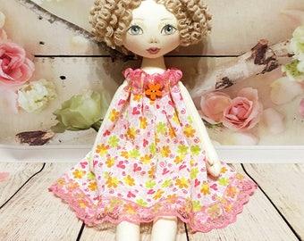 Soft doll, Bright doll, Stuffed doll, Cloth doll, Plush dolls, Rag doll, Princess doll, Colorful dolls,Tilda doll, Doll made of cloth, Pink