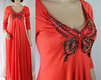 70s Mod Maxi Dress, Beaded, Butterfly Bodice, Party Dress