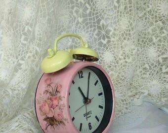 Pink Alarm Clock, Shabby Chic Clock, Retro Alarm Clock, Desk Alarm Clock, Vintage Altered Clock, Pink Nursery Clock, Shabby Chic Decor