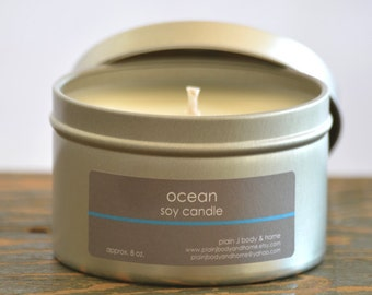 Ocean Soy Candle Tin 8 oz. - ocean soy candle - summer scent candle - fresh scent candle - salt air soy candle