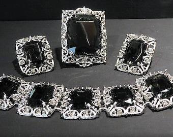 Sarah Coventry / Brooch / Pendant / Clip On Earrings / Bracelet / Mid Century / CELEBRITY / Full Demi Parure Set
