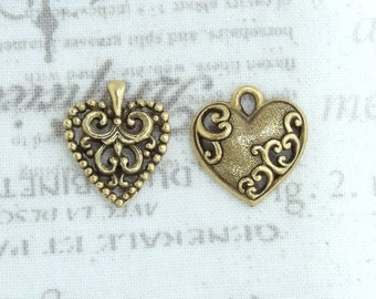 Antiqued Gold Heart Charm Small Heart Charm Decorative Heart Charm Antiqued Gold Charm