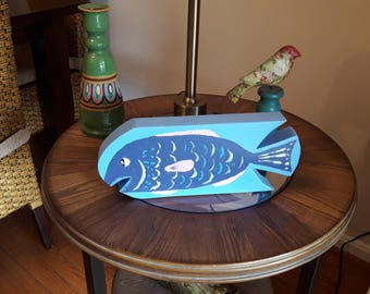 Wood fish-in-a-fish in blue and blue