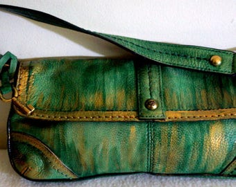 "Fossil Leather Handbag, "" Going Green"", Hand Painted, One of a Kind"
