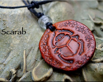 Leather Scarab Necklace, Transformation Amulet Medallion - Genuine Leather Egyptian Jewelry