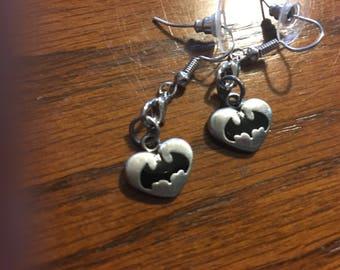 Silver Batman Earrings