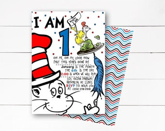 Dr. Seuss Birthday Invitation, Dr. Seuss First Birthday Invitation, Cat in the Hat Invitation, Dr. Seuss Birthday Invitation, DIY or Printed