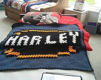 Harley Davidson HARLEY Baby size Crochet Granny Square Graphgan Blanket
