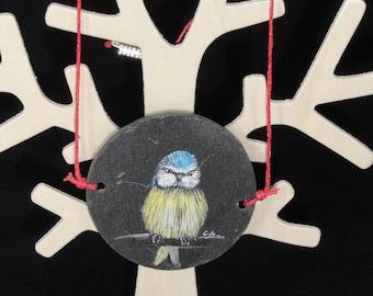 Pendant acrylic painting on slate in thaumatrope animals