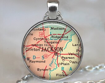 Jackson, Mississippi map necklace, Jackson MS map pendant, Jackson map pendant, Jackson map jewelry keychain key chain key fob