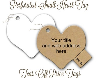 Tear Off Price Tags, Perforated Heart Shape Price Tags, 100 Tags, Labels, Merchandise labels, Product Labels