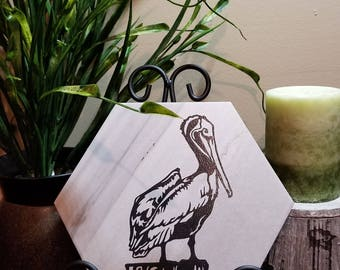 Pelican Laser Etched Ceramic Tile