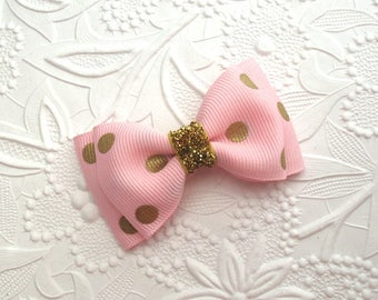 Light Pink and Gold Glitter Hair Bow ~ Baby Girl Toddlers Hair Bow Clip