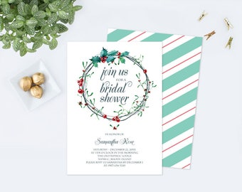 Christmas BRIDAL SHOWER Invitation Template PDF, Winter Bridal Shower, Instant Download, Editable Template, Invite, diy, December Party