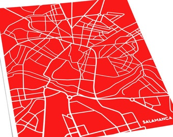 Salamanca City Map Art Print / Spain Map Art Poster / 8x10 Digital Print / Choose your color