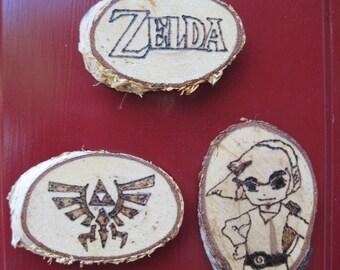 Legend of Zelda magnets, handmade, wood burned, Made in the USA