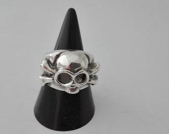 Skull and Bones Ring Sterling Silver