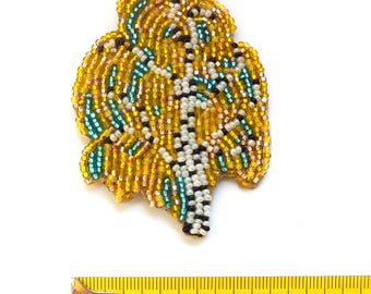 Beaded necklace brooch Russian Birch - fall tree - yellow, black & white embroidered seed bead jewelry - large pendant - handmade beadwork