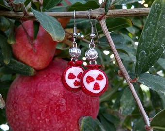 Silver Plated Pomegranate Earrings From Polymer Clay