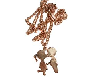 Vintage 14kt Gold Necklace - Kids Kissing Silhouette - Gold silhouette - kids silhouette trendy necklace vintage necklace baby shower gift