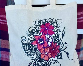 pretty  hand painted tote bag. original and unique flowers design. for shopping. for gift