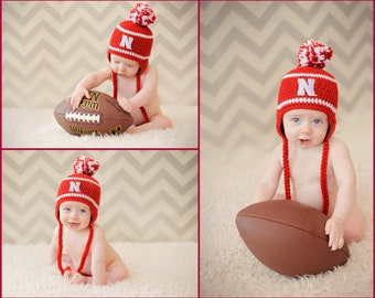 Nebraska Huskers Hat - newborn baby infant toddler child kids Cornhuskers stocking cap knit hat photo prop baby shower gift