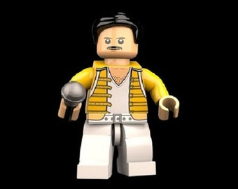 Freddie Mercury Queen Lego custom compatible and/or keychain