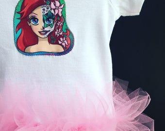 Sugar Skull Princess Ariel The Little Mermaid Inspired Baby Girls Tutu Bodysuit
