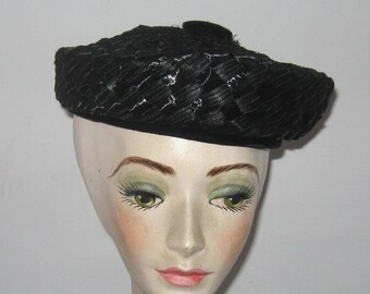 black pillbox hat . straw pillbox hat . black straw hat . black straw topper . straw sailors hat