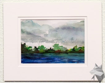 River View Original Watercolor Painting - Matted in 8x10 white mat