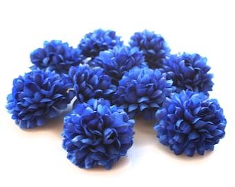 10 Royal Blue Pom Pom Carnations - Artificial Flowers