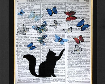 "Cat Art  ""Butterfly's Fun Friends"" Cat Lovers Artwork-Mixed Media Print 8x10 Cat Prints, Cat Pictures, Dictionary art, Dictionary print"