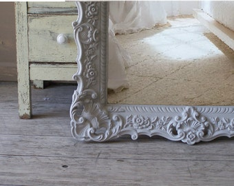Swedish Grey Ornate Mirror, Large Baroque Frame