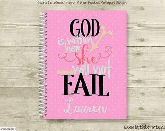 God is Within Her She Will Not Fail Personalized Spiral Notebook Journal