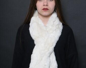 real rex rabbit scarf, light beige fur scarf,Genuine Rex Rabbit Fur Scarf