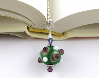 Sea Monster Lampwork Swarovski Crystal and Seed Bead Bookmark aka Book Thong a perfect addition to your library