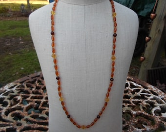 Vintage Yellow/Brown/Amber/Rootbeer Colored Long Glass Necklace 1970s to 1990s Silver Tone Hook Clasp