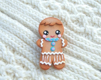 Gingerbread man jewelry Cute gingerbread man brooch Christmas cookies jewelry Food jewelry Holiday gift Bakery jewelry Miniature food brooch
