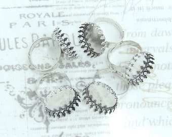 Antiqued Silver Adjustable Ring 18mm Bezel Tray Ring Antiqued Silver Ring Blank Crown Bezel Tray Ring