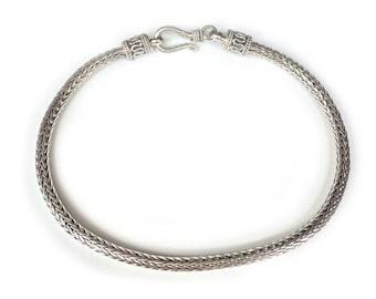 Silver Bali Snake Woven Bracelet Sterling 925 Silver Bangle chain (4 Lengths available)