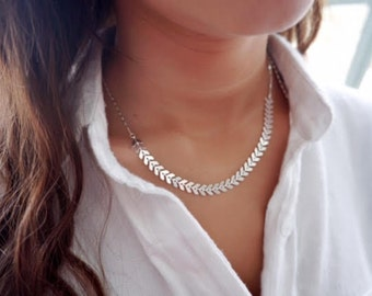 Silver Necklace Dainty Geometric Necklace Fishbone Necklace everyday necklace delicate silver plated jewelry.