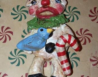 Whimsical Folk Art Snowman Ornament Doll Ornie Snow Bird
