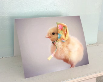 Greeting Card Chicks in Hats Photo Card Chicken Wearing A Miniature Flower Floral Cap Baby Animals #59