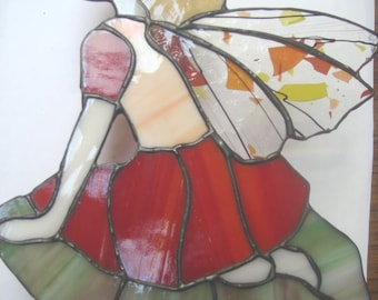 Stained glass Red Garden Fairy