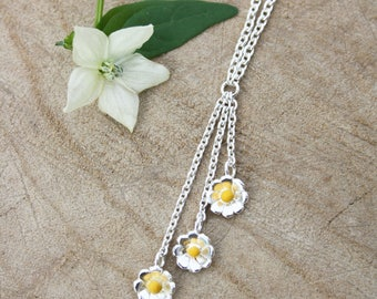 Handmade silver daisy enamelled necklace, mothers day gift, bridesmaid jewellery